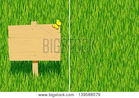 Wood rustic signboard with green grass horizontal seamless pattern background