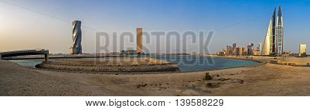 MANAMA, BAHRAIN - MAY 14, 2016: Panoramic image of the Seafront with high rise buildings.