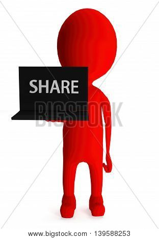 3D Red Character Holding Laptop And Its Screen Showing Share Text Concept