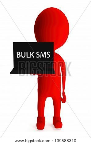 3D Red Character Holding Laptop And Its Screen Showing Bulk Sms Text Concept