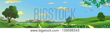 Panorama of nature - mountain, river, and hills with trees. Vector illustration