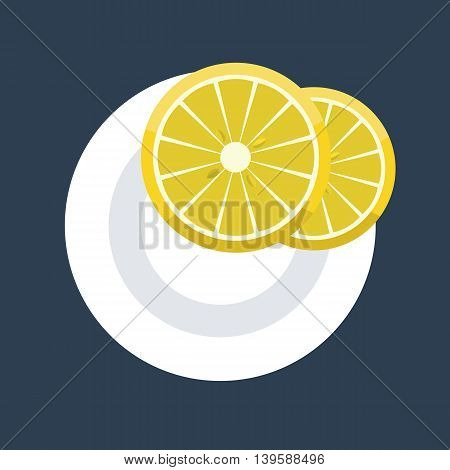 Vector illustration of two wedges of lemon slice on plate. Flat design mock up top view