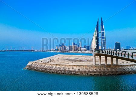 MANAMA, BAHRAIN - MAY 14, 2016: View of the Seafront with the World Trade Center and other high rise buildings in the city.