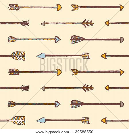Seamless tribal pattern of hand-painted arrows. Boho syle.