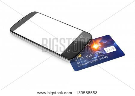 3d rendering of a smartphone and a credit card for mobile payment