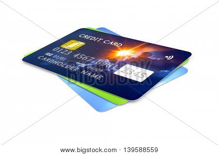 3d rendering of three credit cards for payment