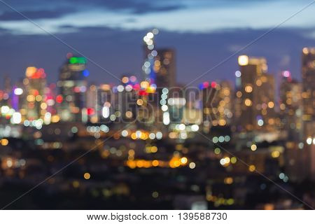 Blurred lights city downtown, abstract bokeh background