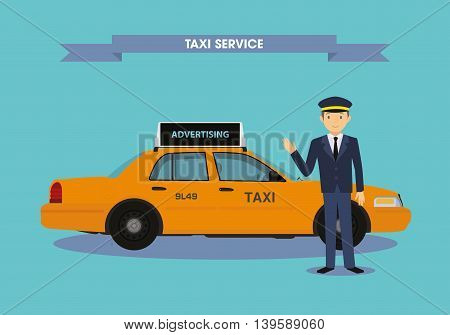 Taxi with an excellent driver. Vector illustration
