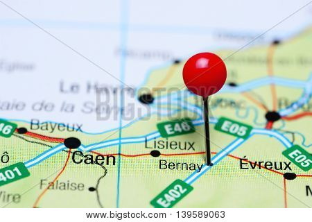 Bernay pinned on a map of France