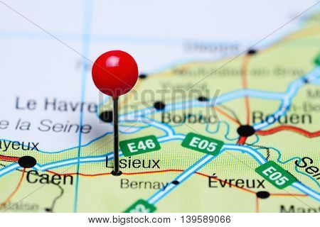 Lisieux pinned on a map of France