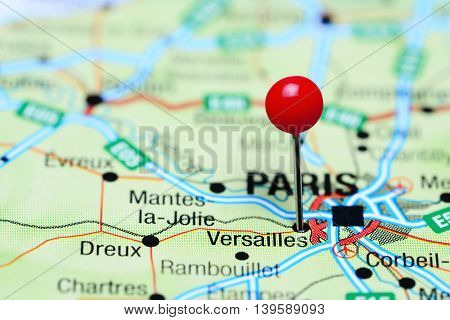 Versailles pinned on a map of France