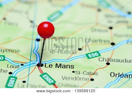 Le Mans pinned on a map of France