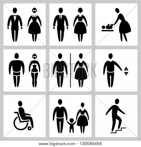 Stylized silhouette Man & Woman public access icons set, vector illustration
