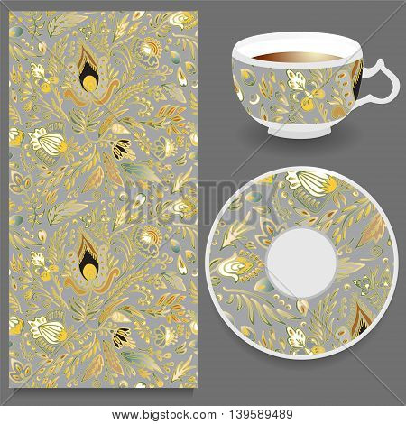 stock vector cup of coffee and seamless floral oriental ornament. hand draw