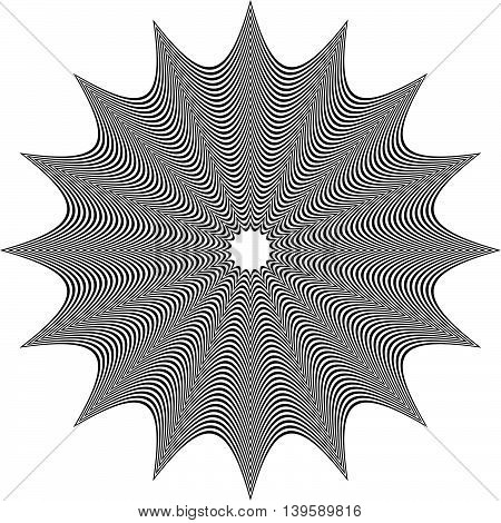 Abstract Monochrome Geometric Element Isolated On White
