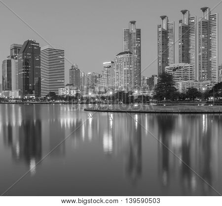 Black and White, Waterfront at Bangkok business downtown with water reflection