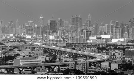 Black and White,  city highway curved long exposure during busy hours