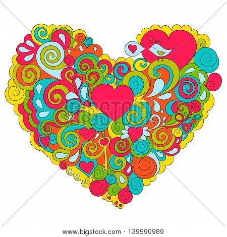 Cute bright heart Valentine's Day. Vector illustrations.