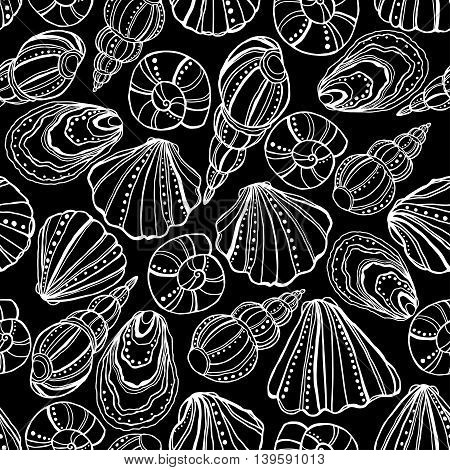 Seamless vector pattern with shells, drawn pen and ink.