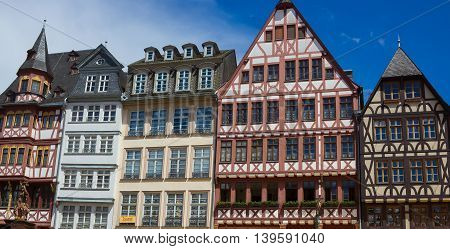 Frankfurt, Germany - June 15, 2016: View of Roemerberg square in Frankfurt, Germany. Frankfurt is the fifth-largest city in Germany.
