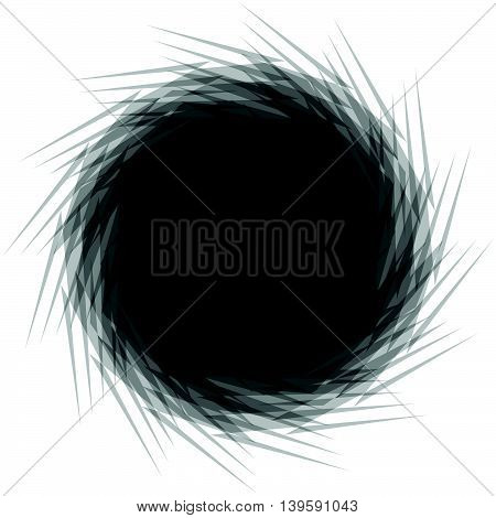 Circular Radial Element Isolated On White. Spinning, Whirling Abstract Geometric Shape.