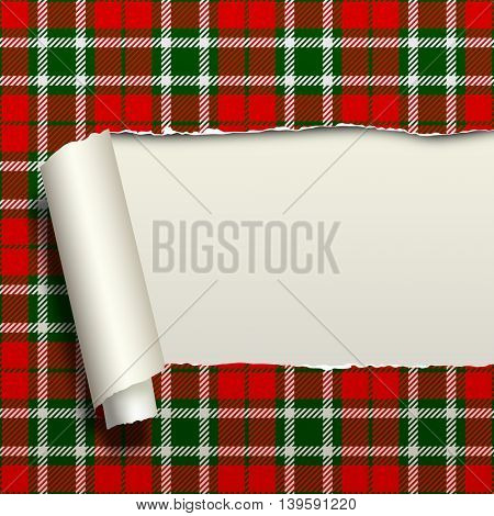 Ripped paper with tartan seamless pattern background. Contains the Clipping Path