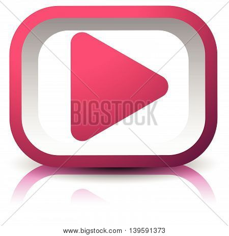 3D Rectangular Play Button With Shadow And Reflection Isolated On White