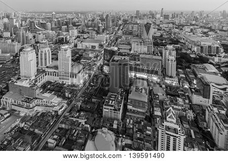 Black and White, Aerial view city central business downtown skyline, Bangkok Thailand