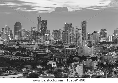 Black and White, City office building lights nigh view