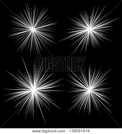Set Of Flash, Glare Elements. Radial Burst Lines. 4 Variation.
