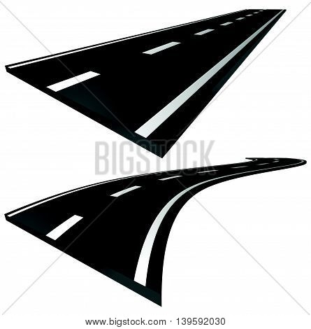 3D Roads. Straight And Curving Roads Isolated On White.