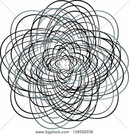 Abstract Circular Element With Random, Irregular Lines. Concentric Spiral Element Isolated On White.