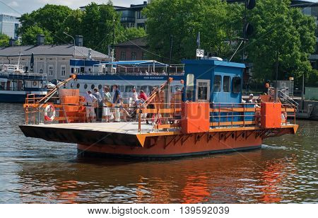 Passenger Ferry On The Aura River  In Turku, Finland