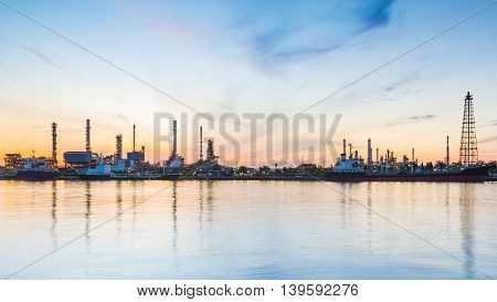 Panorama Bangkok Oil refinery river front with sunrise sky background
