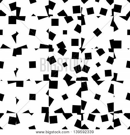 Random Scattered Squares Repeatable Abstract Geometric Pattern. Monochrome Background