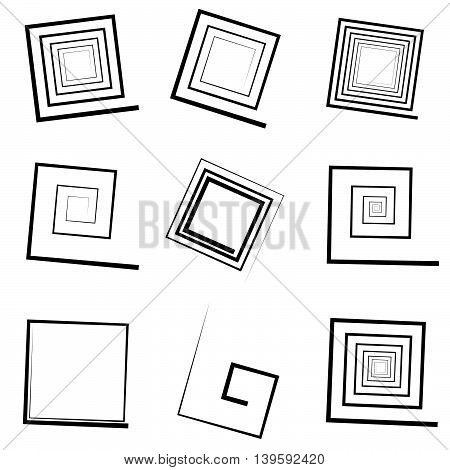 Set Of 9 Different Concentric Spiral Elements. Abstract Geometric Shape Set.