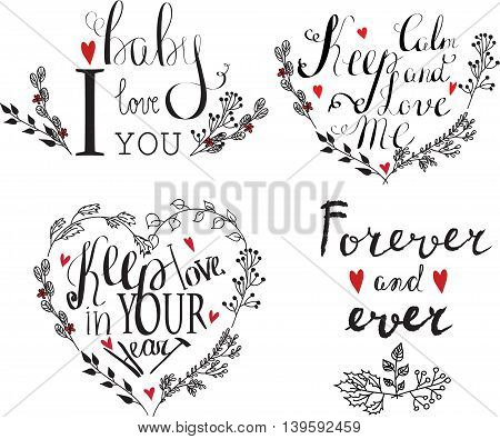 Vector Valentines day vintage lettering background with hearts.
