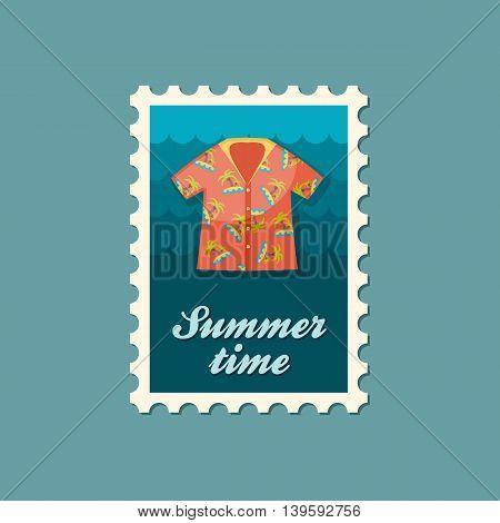 Hawaiian Shirt with palm tree vector stamp. Beach. Summer. Summertime. Holiday. Vacation eps 10