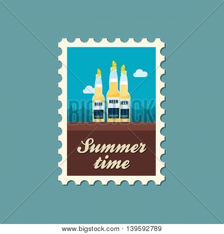 Beer bottle vector stamp. Beach. Summer. Summertime. Holiday. Vacation eps 10