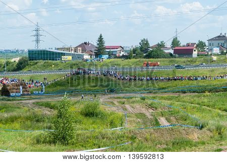 Tyumen, Russia - July 9, 2016: Steel Character extreme race on Voronino Hill. Athletes line on track after start