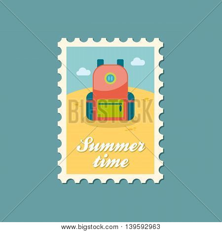 Backpack vector stamp. Travel. Summer. Summertime. Holiday. Vacation eps 10