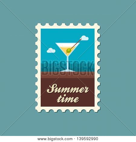 Martini. Cocktail vector stamp. Beach. Summer. Summertime. Holiday. Vacation eps 10