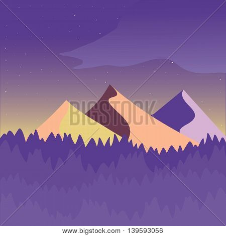 Purple and yellow mountain landscape. Flat simple and nice art