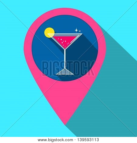 Vector icon with drink in gps navigation style. Flat icon with cocktail for mobile applications and other design