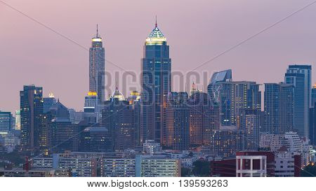 Bangkok central business building with twilight background, Thailand