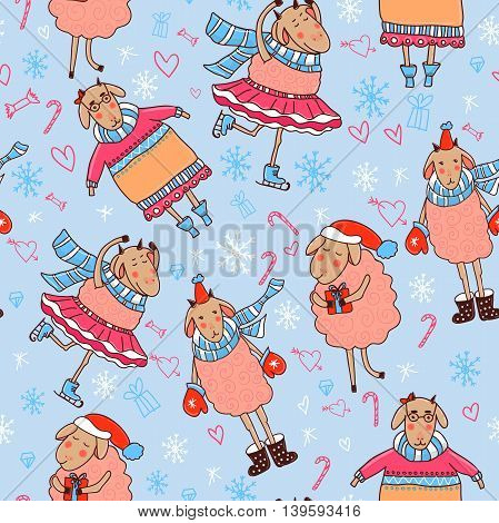 Seamless winter pattern with sheep in hats, sweaters, mittens and scarves. Vector illustration.