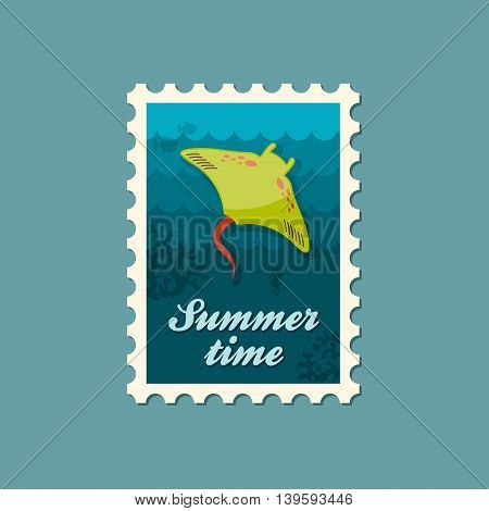 Ramp fish vector stamp. Beach. Summer. Summertime. Holiday. Vacation eps 10