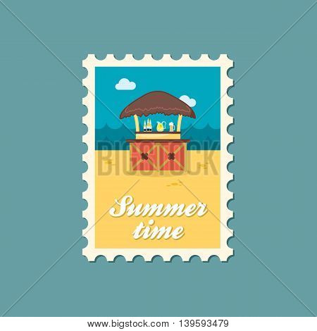 Cafe Bar bungalows on the beach vector stamp. Beach. Summer. Summertime. Holiday. Vacation eps 10
