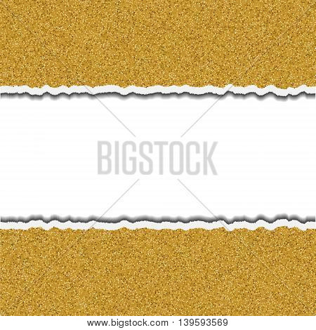 Gold glittering torn paper pieces. Ripped paper frame design template element. Vector party border