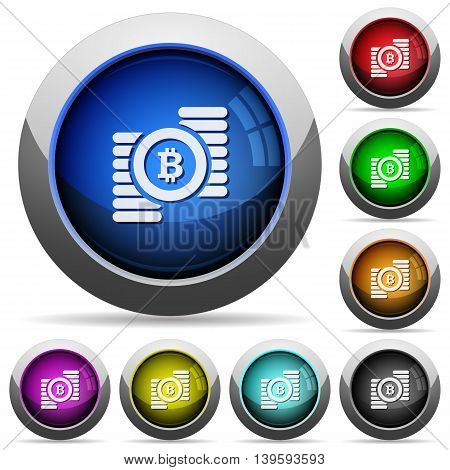 Set of round glossy Bitcoins buttons. Arranged layer structure.